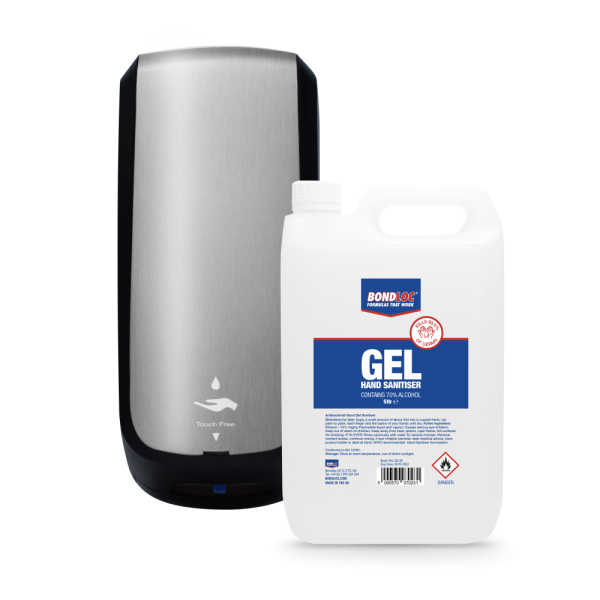 Automatic Touch-Free Hand Sanitiser Dispenser Unbranded with 5 Litre Gel Jerrycan Refill